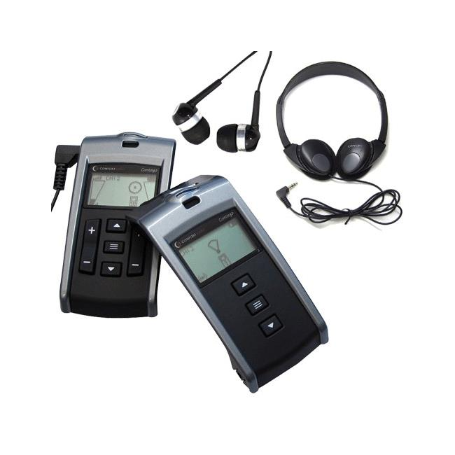 Picture of Comfort Contego receiver, transmitter, headphones and ear buds.